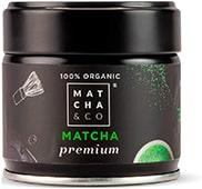 Tarro negro de té matcha orgánico